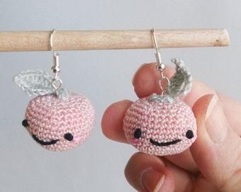 Pink & grey kawaii apple earrings - crochet jewel - jewelry - miniature - embroidered details - embroidery - fairytale - enchanting