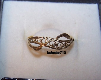 14k Gold Filigree Ring Gold Ring sz 7-1/4 Filigree Ring Gold Band