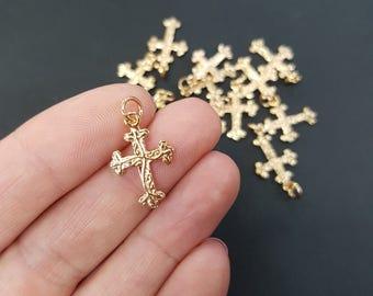 Cross Non Tarnish Charm - Gold