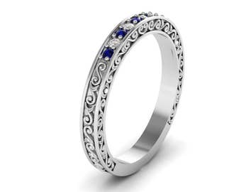 Unique Engagement ring, Sapphire Ring Half Eternity Band