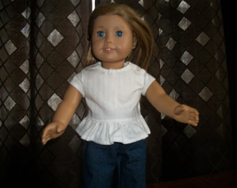 "Handmade 18"" Doll White Peplum Style Top - 18"" Doll Top - 18"" Doll Clothes"