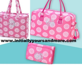 Monogrammed Pink Tote Bag (you can add the matching weekender and cosmetic bag also available)