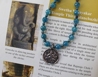 Ganesha pendant gemstone necklace - blue necklace - healing get well gift - spiritual jewelry - unique