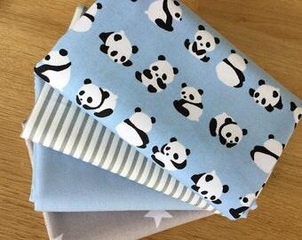 Lil PANDAS Fat Quarter Bundle in blue and grey 100% cotton fabric