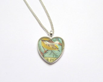 Bird heart necklace: vintage postage stamp jewellery. Silver plated, nickel free, 24 inch chain. Gift for girlfriend, best friend, sister.