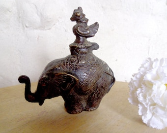 Bronze elephant inkwell Antique Indian inkwell with bird lid