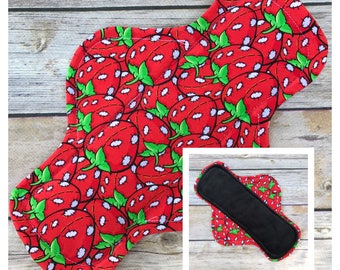 "10"" Velour Stitchberries Cloth Menstrual Pad - Mama Cloth. Strawberries"
