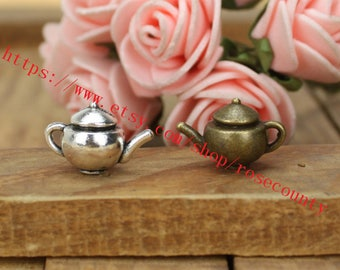 wholesale 100pcs 17x11mm Antiqued Silver/Antiqued Bronze Heavy teapot charms findings