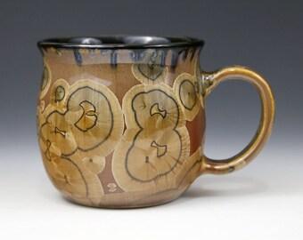 "Crystalline 15 oz Mug Golden Brown Honey Caramel Adobe ""Tiger Eye"" with Black Cup #1046"