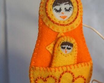 Mom and Baby Felt Nesting Doll orange yellow