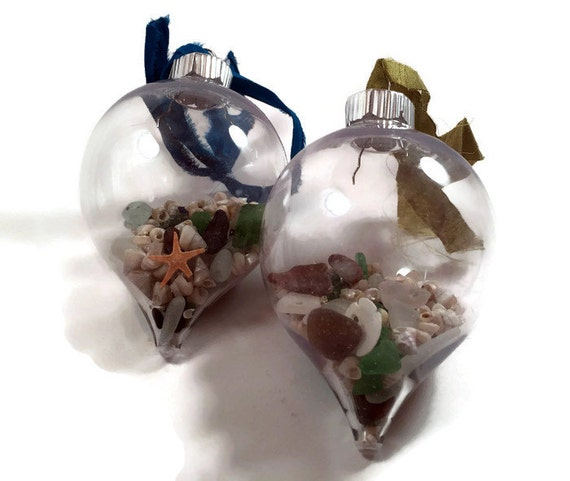 Sea glass ornaments christmas bulbs nautical home decor