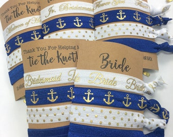 Bachelorette Party Favors | Bridesmaid Gift | Bridesmaid Proposal | Will You Be My Bridesmaid, Anchors, Nautical Wedding, Navy And Gold Ties