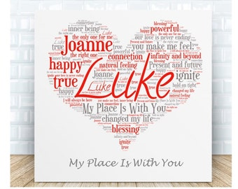 My Place is With You Love Message Ceramic Plaque. Personalised Gift. Birthday, Christmas, Anniversary, Valentines Day