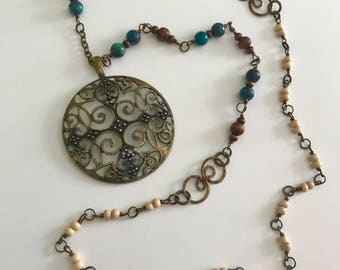 Long Layering Beaded Mandala Necklace
