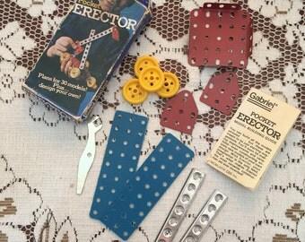 Vintage Pocket Erector Set / Parts 12 Pieces