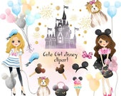 Cute disney girls , Fashion Girl Clip Art Instant Download PNG file - 300 dpi