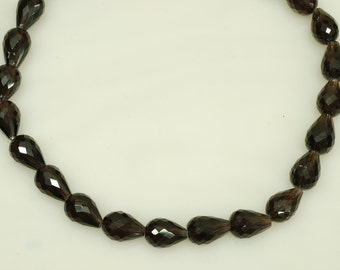 "11x15mm Smoky Quartz Faceted Tear Drop Shape Bead, 15.5"" long"