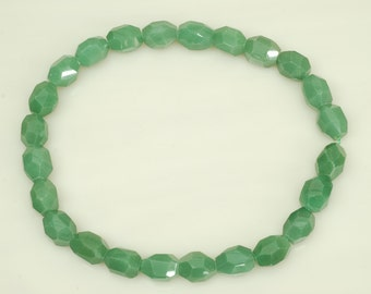 12x18mm Faceted Nugget Shape Green Aventurine Bead
