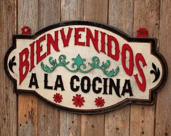 Bienvenidos Cocina Spanish Decoration Kitchen Decor Mexican Cocina Kitchen Remodel Mexican Kitchen Spanish Kitchen Kitchen Signage Welcome