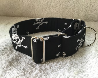 Black Skull and Crossbones / Pirate Design Martingale Dog Collar