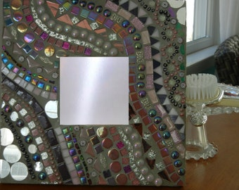 One of a kind, Pink, Purple and Gray Mosaic Mirror, Mosaic Wall Art