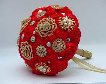 Custom Made Brides Bridesmaids Brooch Bouquet Wedding Posy Accessory Handmade Flowers Bright Red Asian Inspired 40