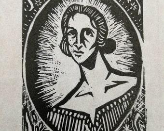 Mary Shelley Linograph Print