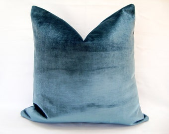 Decorative Designer High End Velvet Upholstery Fabric in Ice Blue Pillow Cover 18 19 20 22 Accent Euro Sham Sofa cushion