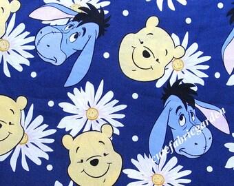 Cotton Fabric - 1 Meter Animal Cartoon - Cartoon Character - Disney Cartoon Fabric - Eeyore Print Fabric - Black  (W140cm)