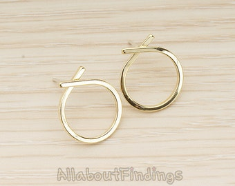 ERG374-G // Glossy Gold Plated Simple Round Ribbon Link Earpost, 2 Pc