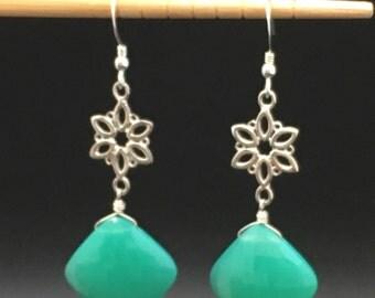Chrysoprase Earrings, Australian Gemstone earrings, green gemstone earrings, artisan earrings, lotus flower earrings, earrings under 150