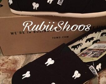 RubiiShoos Original -Dental Toothy Toms- Dentist- Dental Assistant- Hygienist- Black Toms- Canvas Shoes- Toms- Dentist Gift