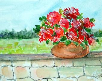 Flower Pot on Wall - Original Watercolor