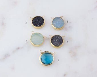 Small Round Druzy or London Blue Quartz Gold Filled Wire Wrapped Link Connector, Electroplated Gold Edges Druzy Pendant, Round Druzy CM53GC