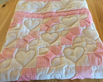 Amish Hand Sewn Baby Girl Crib Quilt - Bow Ties and Hearts