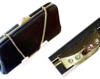 Black Evening Bag,Vintage Clutch with Chain Strap & Rhinestone Clasp,Fabric Evening Purse,Convertable Bag,Black Party Purse,Formal Handbag,