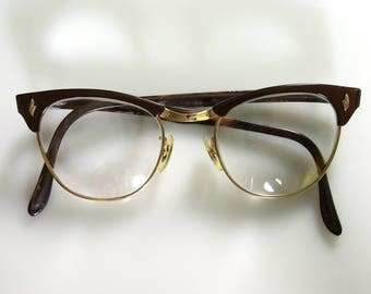 Metallic Cinnamon-Cocoa Brown Cateye Eyeglasses Retro 50s 60s Library Nerd Glasses