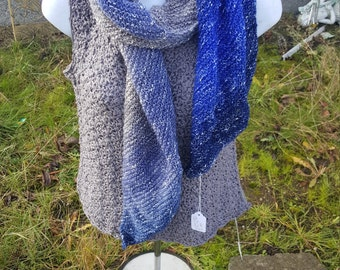 Super soft knit scarf, wrap scarf holiday gift, woman scarf, scarves and wraps soothing blue
