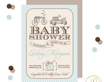 Vintage Baby Shower Invitation, Boy Baby Shower, Vintage Toys, Southern Baby Shower, Blue Stripes Baby Invitation, Seersucker Invitation