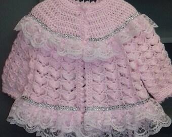 crochet baby cardigan.....     Handmade baby cardigan      going home cardigan         .baby shower gift..pink crochet   baby cardigan