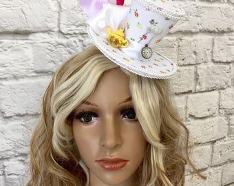 Mad Hatter Mini Top Hat, Alice in Wonderland Mini Top Hat, Teapot Tea Party Mini Top Hat, Tea Party Top Hat
