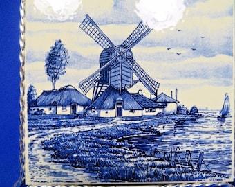 Delft Blauw Pottery Trivet Silvertone Metal Stand Legs Blue White Holland Vtg