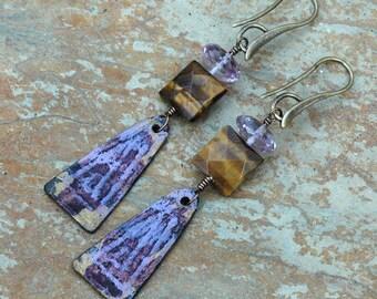Boho Amethyst Earrings; Tiger Eye Earrings; Inviciti; Long Tribal Earrings; Purple Earrings; Protective Jewelry; Integrity