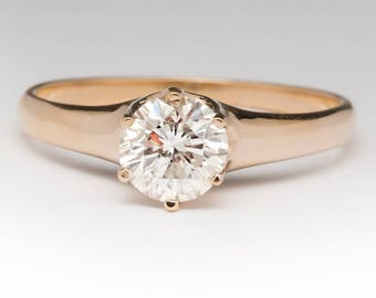 Vintage Engagement Ring - .80 Carat Round Brilliant Diamond Solitaire - Vintage 14K Yellow Gold Engagement Ring - HH733