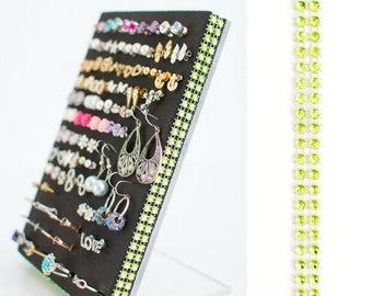 Earring Holder - Green Jeweled Ribbon - Jewelry Organizer