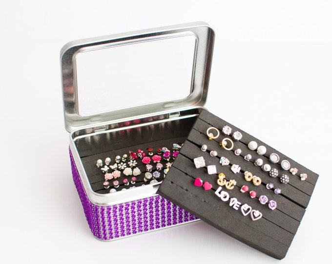 Tin Jewelry Box - Purple Jeweled Ribbon - EXTRA INSERT - Travel Tin Box