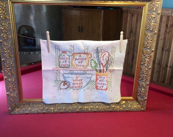 Vintage Recipe Cross Stitch Linen