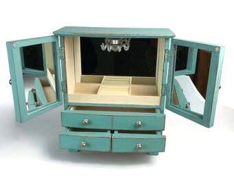 Pretty jewelry box, jewelry armoire, turquoise jewelry box, gift for her, trinket box, jewelry storage, jewelry organizer