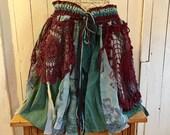 Pixie Skirt, Tattered Skirt, Festival Clothes, Unique Boho Gypsy Skirt, Jade Hippie Mini Skirt, Bohemian Skirt Hippie Wrap Skirt