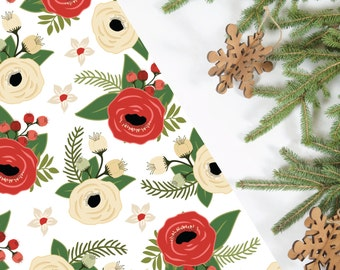 Floral Holiday Wrapping Paper; Christmas; Red and Ivory; 5 Sheets